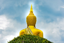The Back Of The Golden Buddha Statue At Phra That Renu Nakhon Temple Nakhon Phanom Province, Thailand