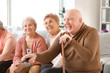 canvas print picture - Group of senior people spending time together in nursing home