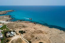 Beautiful Aerial View Of Beautiful Beach With Blue Ocean Mediterranean Sea