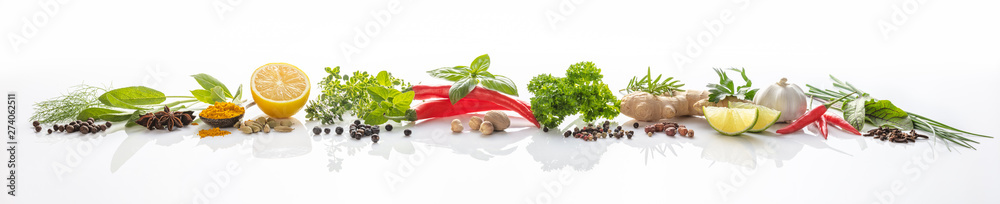 Fototapety, obrazy: Composition of various herbs and spices on white background