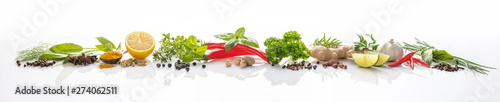Wall Murals Fresh vegetables Composition of various herbs and spices on white background