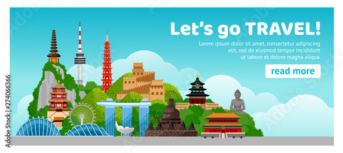 Foto auf AluDibond Licht blau Asian travel. Detailed web horizontal poster. Composition with famous landmarks and large volume letters. Cartoon vector illustration.