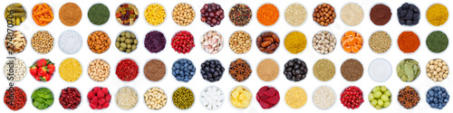 Fruits and vegetables berries spices herbs grapes banner sugar from above isolated on white