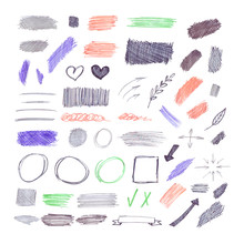 Vector Set Of Hand Drawn By Pen And Pencil Elements Isolated On White Background, Sketch Drawing.