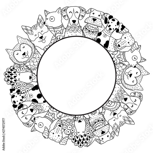Frame with funny dogs for coloring page. Place for your text Tableau sur Toile