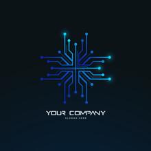 Futuristic Abstract Tech Circuit Board Logo Template