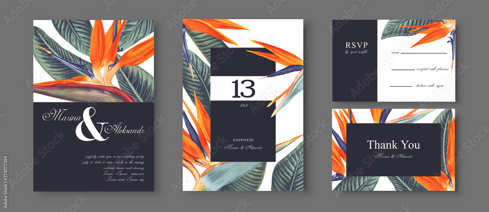 Fototapety, obrazy: Botanical wedding invitation card. Template design with Strelitzia Reginae, tropical flowers and leaves. South African plant, called bird of paradise. Collection of Save the Date and RSVP in vectorEPS