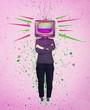 Leinwanddruck Bild - Television manipulation and brainwashing. Mass media propaganda control. Contemporary art collage, woman full length with old tv instead of head