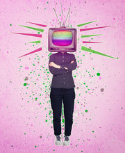 Television Manipulation And Brainwashing. Mass Media Propaganda Control. Contemporary Art Collage, Woman Full Length With Old Tv Instead Of Head