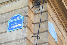 Famous Place Vendome Street Sign And Corner In Paris, France