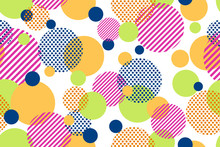 Seamless Pattern Of Colorful Dots And Geometric Circle Modern On White Background - Vector Illustration