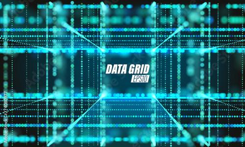 Billede på lærred Vector particle grid