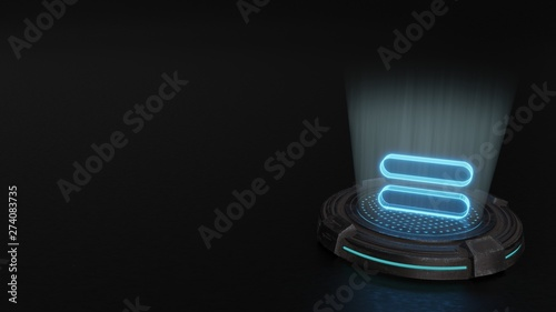 Valokuva  3d hologram symbol of equal 1 icon render