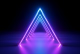 Fototapeta Do przedpokoju - 3d render, abstract neon background, fashion podium in ultraviolet light, performance stage decoration, glowing triangle shapes, illuminated night club corridor with triangular arcade