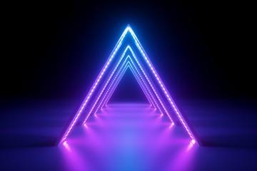 3d render, abstract neon ba...