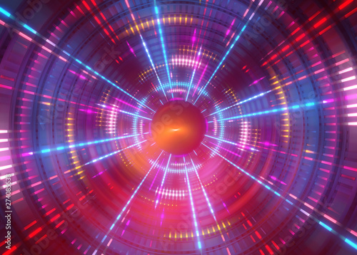 Fotografia, Obraz  3d abstract geometric background with neon lights, round tunnel