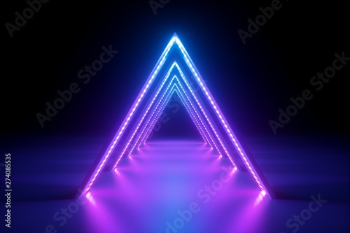 3d render, abstract neon background, fashion podium in ultraviolet light, performance stage decoration, glowing triangle shapes, illuminated night club corridor with triangular arcade - 274085535