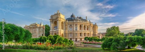 Opera House and theatre square in Odessa, UA Fototapet