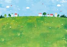 草原と家の田舎町の景...