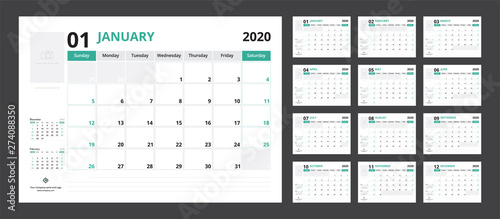 Obraz 2020 calendar planner set for template corporate design week start on Sunday. - fototapety do salonu