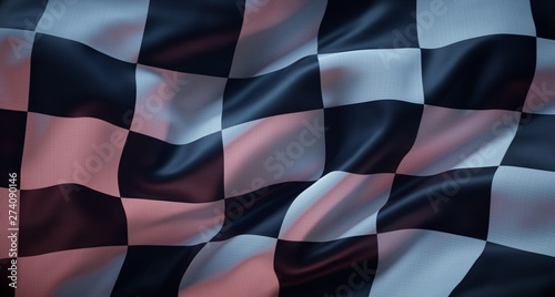 Photo sur Toile F1 White and black flag checkered for race.