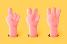 Vector 3d Realistic Funny Cartoon Hands, Showing Gestures - One, Two, Three Fingers.