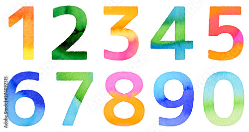 Fotomural watercolor numbers