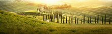 Italian Landscape With A Winding Road With Cypress Trees At Sunset