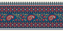 Woodblock Printed Indigo Dye Seamless Ethnic Floral Border. Traditional Oriental Ornament Of India, Paisley Motif, Blue, Red And Gold Tones On Ecru Background. Textile Design.