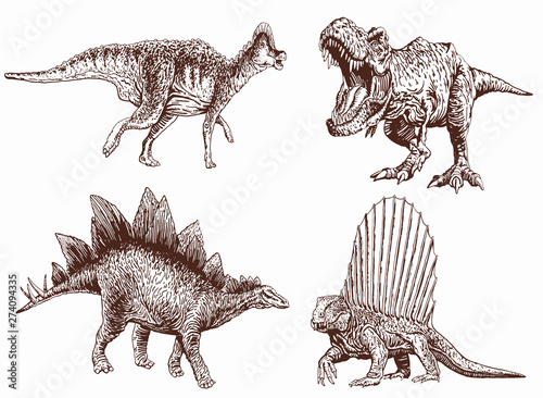Photo Graphical vintage set of dinosaurs ,vector retro illustration