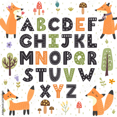 Canvas Print Forest alphabet with cute foxes. Hand drawn letters from A to Z