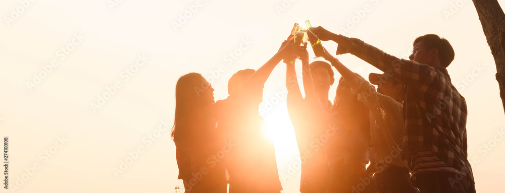 Fototapety, obrazy: Six young entrepreneur gathering together toast for success in business start up, group party at dusk, cropped dimension for banner