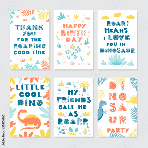 Dinosaurs greeting cards big vector collection set Canvas Print
