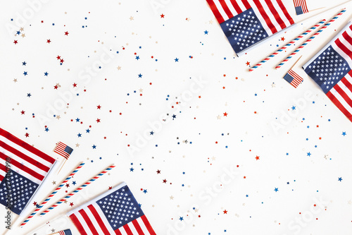 Canvas Prints Countryside 4th of July American Independence Day decorations on white background. Flat lay, top view, copy space