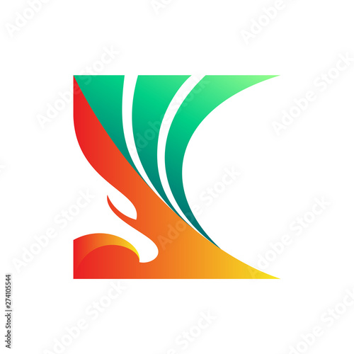 Photo  eagle letter K logo design, letter K combination with eagle head and wings