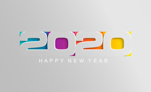 Happy 2020 New Year Card In Pa...