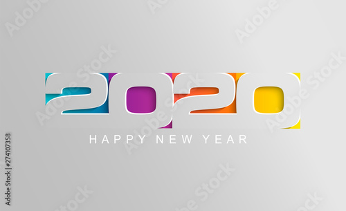 Fototapeta Happy 2020 new year card in paper style for your seasonal holidays flyers, greetings and invitations cards and christmas themed congratulations and banners. Vector illustration. obraz