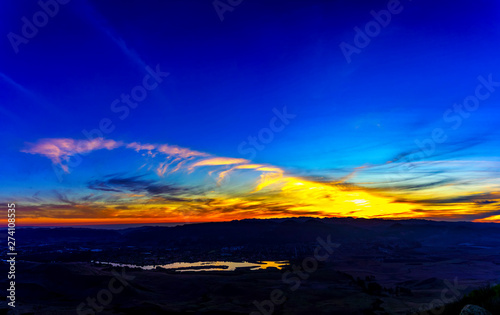 Evening Sunset over lake from View