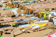 Above Angled View Of Rows Of Cardboard Box Bundles