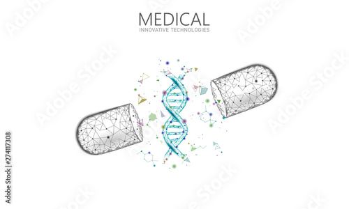 Stampa su Tela  Opened drug capsule medicine business concept
