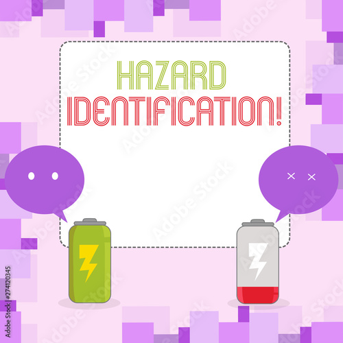 Conceptual hand writing showing Hazard Identification