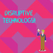 canvas print picture - Text sign showing Disruptive Technology. Business photo showcasing one that displaces an established technology Businessman Looking Up, Holding and Talking on Megaphone with Volume Icon