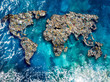 Continents earth are made up of garbage, surrounded by ocean water. Concept environmental pollution with plastic and human waste