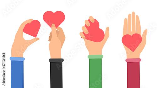 Obraz na płótnie Sharing love and peace flat illustration