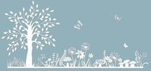 Template Glade For To Cut With A Laser From Paper. Line With Mushrooms, Grass, Toadstools And Butterflies, Wood And Flowers. For Decoration And Design. Laser Cut. Template For Laser Cutting And Plotte