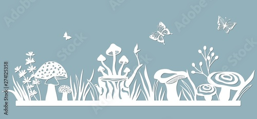 Fototapeta Template glade for to cut with a laser from paper. Line with mushrooms, grass, toadstools and butterflies. For decoration and design. Laser cut. Template for laser cutting and Plotter. Vector illustra obraz