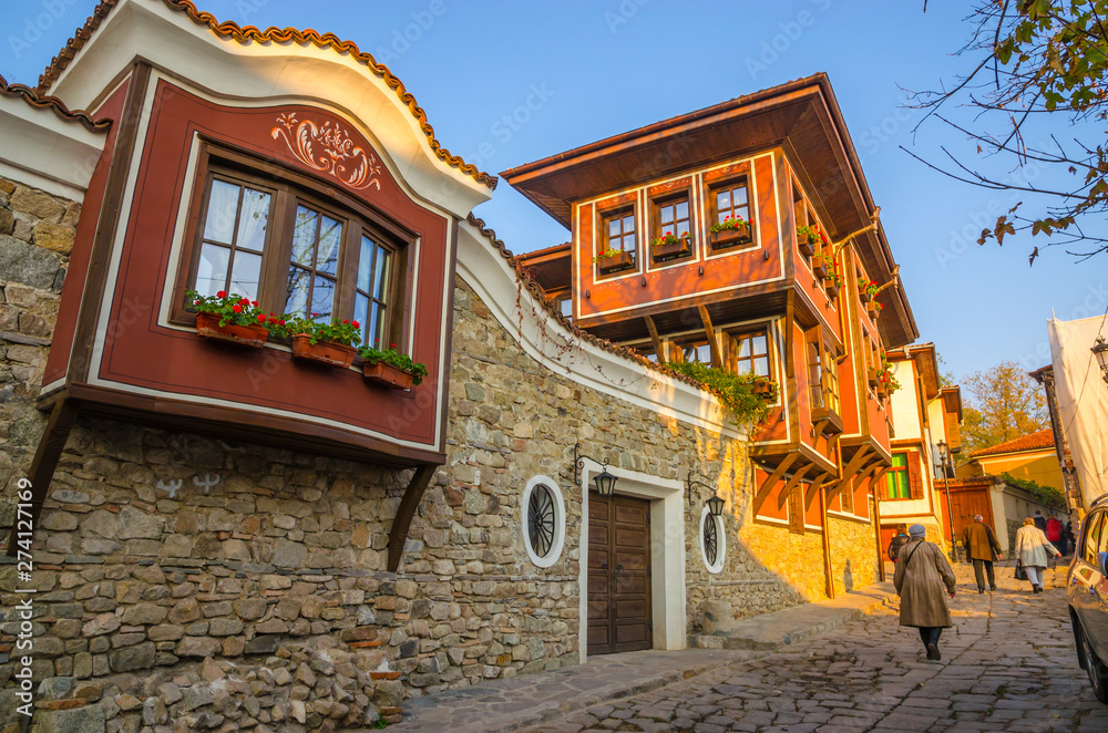 Fototapety, obrazy: Beautiful street in medieval part of the city Plovdiv, Bulgaria
