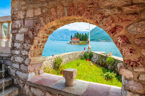 Poster de jardin Europe Méditérranéenne Beautiful mediterranean landscape. St. George Island near town Perast, Kotor bay, Montenegro.