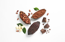 Composition With Cocoa Products On White Background, Top View