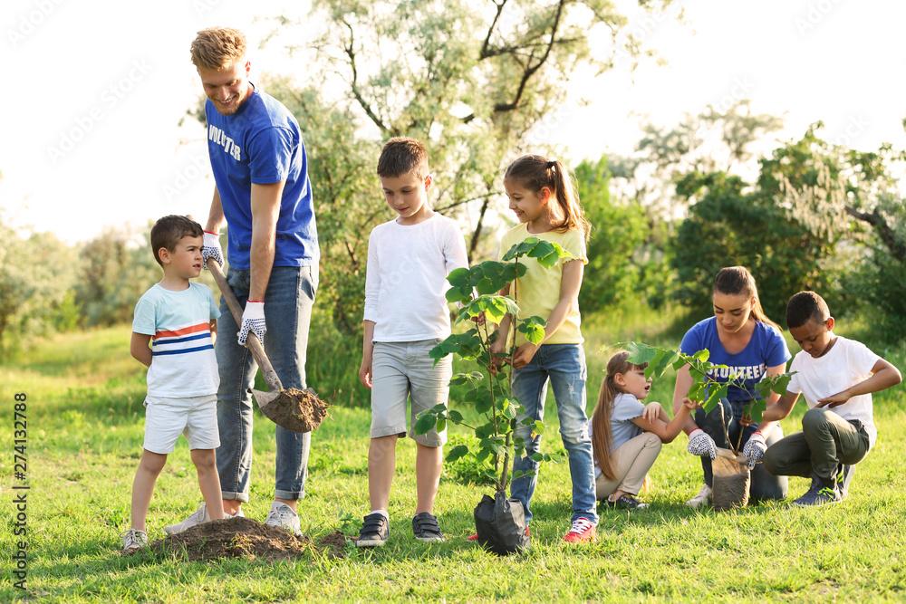 Fototapeta Kids planting trees with volunteers in park